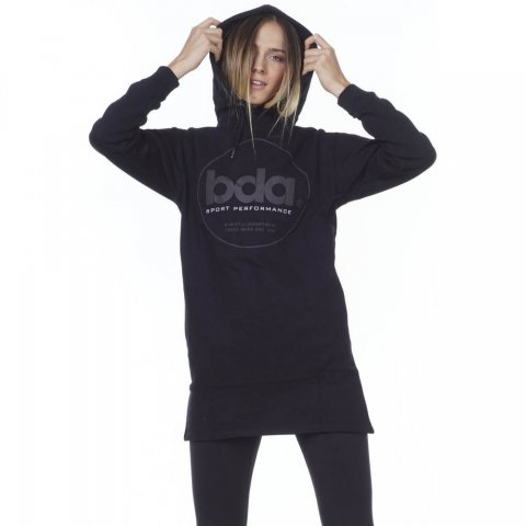 Body Action BODY ACTION WOMEN OVERSIZED HOODED DRESS - BLACK
