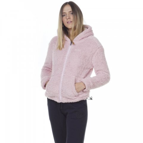 Body Action BODY ACTION WOMEN FLUFFY FLEECE HOODIE JACKET - PINK