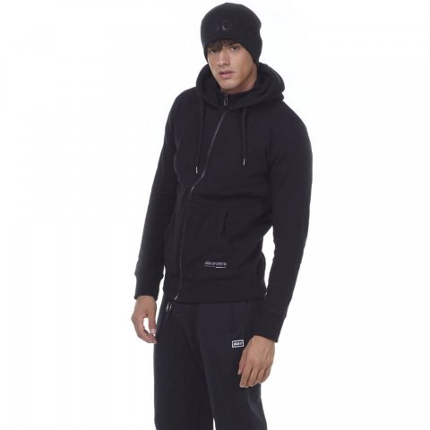 Body Action BODY ACTION MEN HOODED SWEAT JACKET - BLACK