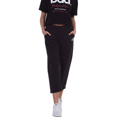 Body Action BODY ACTION WOMEN'S  WIDE LEG CROPPED JOGGERS BLACK